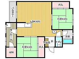 兵庫県神戸市垂水区北舞子3丁目の賃貸マンションの間取り