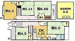 [一戸建] 京都府京都市伏見区奈良屋町 の賃貸【/】の間取り