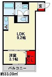グランルージュ桜 1階1LDKの間取り