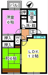 メロディハイツ永隈[2-202号室]の間取り