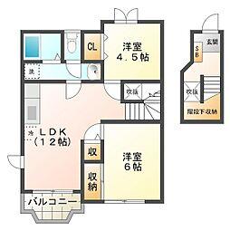 三重県津市久居井戸山町の賃貸アパートの間取り