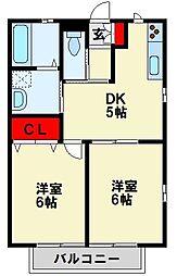 福岡県遠賀郡水巻町頃末南3丁目の賃貸アパートの間取り