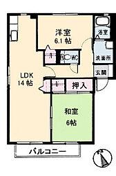シャルマン高須B棟[2階]の間取り