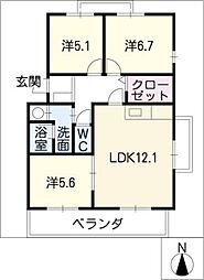 HILLS−T´s A棟[3階]の間取り