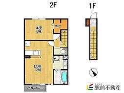 オプティマムハウス B棟 2階1LDKの間取り