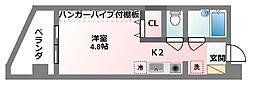 コート・ダジュール 6階1Kの間取り