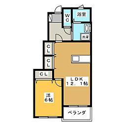 サンフラワーB棟[1階]の間取り