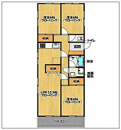 福岡県福岡市早良区弥生1丁目の賃貸マンションの間取り