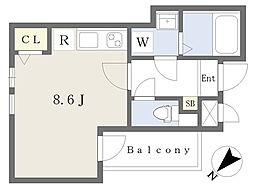 シェリム南福岡III 1階ワンルームの間取り