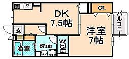 兵庫県伊丹市荻野2丁目の賃貸アパートの間取り