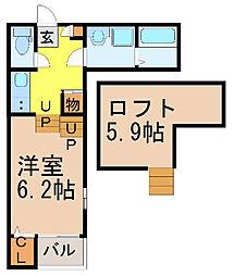 愛知県名古屋市瑞穂区駒場町5丁目の賃貸アパートの間取り