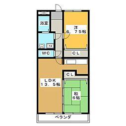 サンフェスタ・KATO B棟[2階]の間取り
