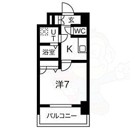 名古屋市営鶴舞線 大須観音駅 徒歩8分の賃貸マンション 9階1Kの間取り