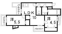 ワコーハイツ西神戸[4階]の間取り