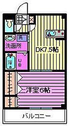 ヒルズ三橋(三橋)[203号室]の間取り
