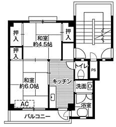 ビレッジハウス愛川1号棟2階Fの間取り画像
