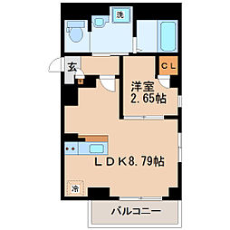 ラシーネ錦町 3階1LDKの間取り