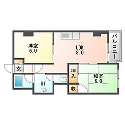 北海道札幌市中央区南六条西27丁目の賃貸マンションの間取り