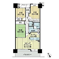 サーパス錦中央公園[4階]の間取り