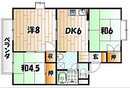 福岡県北九州市小倉北区井堀3丁目の賃貸アパートの間取り