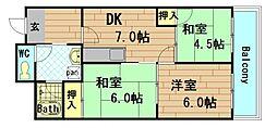 ロイヤルハイツ土佐堀[4階]の間取り