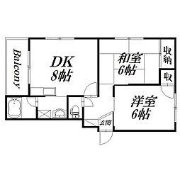静岡県浜松市北区細江町中川の賃貸アパートの間取り