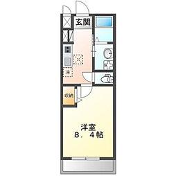 土浦市真鍋新築アパート 1階1Kの間取り