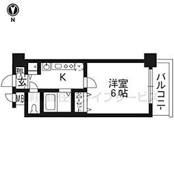 アクロス京都七条鴨川御苑604[6階]の間取り