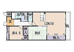 大阪府八尾市栄町1丁目の賃貸マンションの間取り
