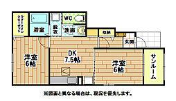 ボヌールII棟[1階]の間取り