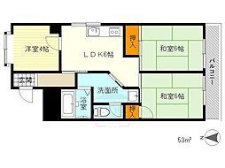 香川花園ハイツ[70D号室]の間取り
