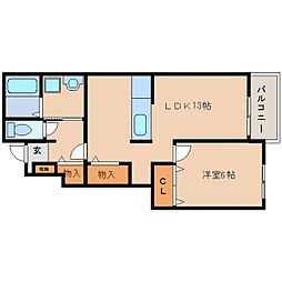 近鉄田原本線 池部駅 徒歩6分の賃貸アパート 1階1LDKの間取り