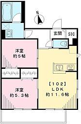 JR京浜東北・根岸線 蒲田駅 徒歩15分の賃貸アパート 1階2LDKの間取り