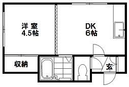 北海道札幌市豊平区美園九条2丁目の賃貸アパートの間取り