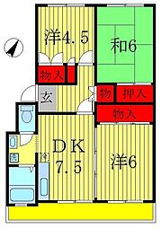 オークマ第三レジデンス[2階]の間取り