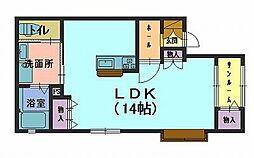 たんぽぽコーポ高松D 1階ワンルームの間取り
