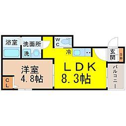 愛知県名古屋市西区菊井1丁目の賃貸アパートの間取り