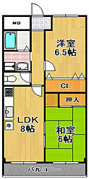 トカシキマンション2[2階]の間取り