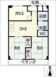 太平コーポラスI[2階]の間取り