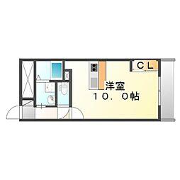 JR福塩線 万能倉駅 徒歩10分の賃貸アパート 2階1Kの間取り