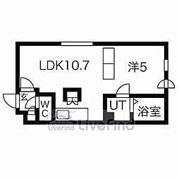 札幌市営東西線 南郷18丁目駅 徒歩9分の賃貸マンション 4階1LDKの間取り