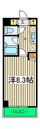 ドルックス横浜 4階1Kの間取り
