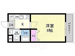 阪急京都本線 西京極駅 徒歩17分の賃貸マンション 4階1Kの間取り