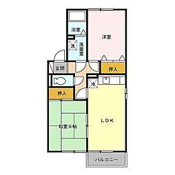 埼玉県川越市藤間の賃貸アパートの間取り