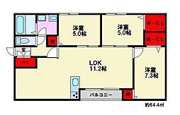 メゾンクラッセ皿山[2階]の間取り