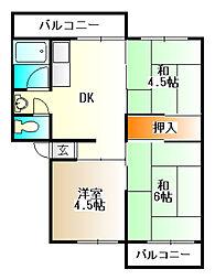 兵庫県神戸市北区有野台2丁目の賃貸マンションの間取り