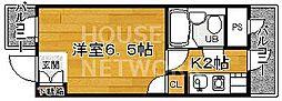 DETOM-1北山レディース[408号室号室]の間取り