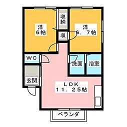 愛知県春日井市下条町3丁目の賃貸アパートの間取り