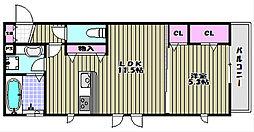 ロイヤルガーデン三国ヶ丘壱番館[2階]の間取り