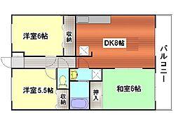 広島県広島市東区牛田中2丁目の賃貸マンションの間取り